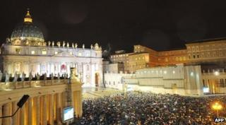 Crowds outside St. Peter's Basilica