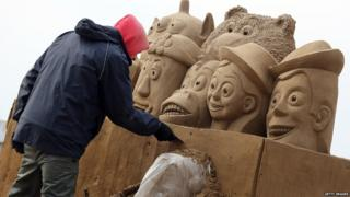 Toy Story sand sculpture