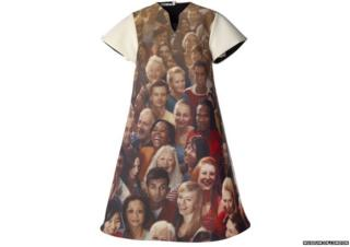 Dress with many games maker faces on