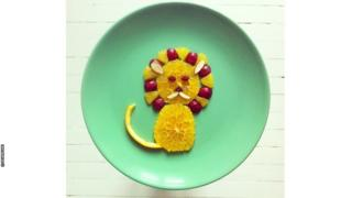 Ida Skivenes's lion made out of fruit.