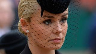 British mezzo-soprano singer Katherine Jenkins arrives to attend the ceremonial funeral service of British former prime minister Margaret Thatcher.