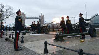 The Honourable Artillery Company (HAC) as they fire one round a minute at the Tower of London, prior to the funeral service of Baroness Thatcher.