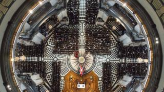 An overhead view of guests attending the ceremonial funeral of former British Prime Minister Margaret Thatcher at St Paul's Cathedral in London.