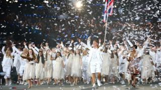Chris Hoy leading Team GB at Olympic opening ceremony