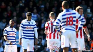 QPR players looking upset