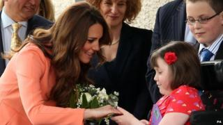Kate meets eight year old Sally at the Hospice.