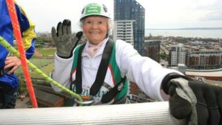 Doris Long pictured on the roof of Millgate House in Portsmouth in 2012