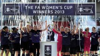 Arsenal ladies celebrate after winning their 12th FA Women's Cup title.