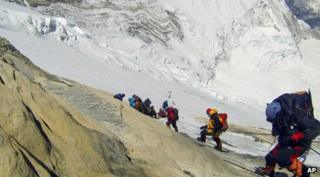 Climbers scaling Mount Everest.
