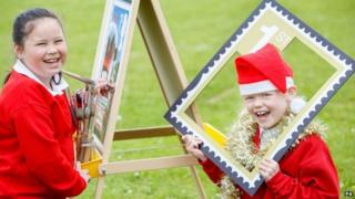 School children taking part in Royal Mail's Christmas stamp design competition