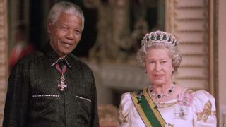 Nelson Mandela with the Queen in 1996