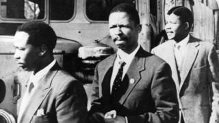 Nelson Mandela (right) with other African National Congress activists in the 1960s