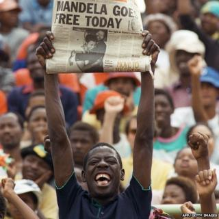 Man celebrates Mandela's release from prison
