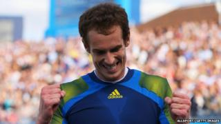 Andy Murray celebrates after winning the Aegon Championships at the Queen's club in London.