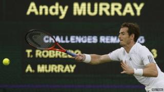 Andy Murray playing in the third round at Wimbledon