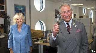 Camilla and Prince Charles on set of Doctor Who