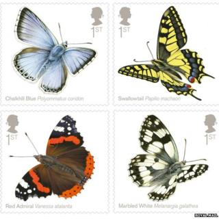 Four butterfly stamps