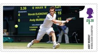 Stamp of Andy Murray playing tennis