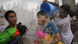 Water fight in Shanghai