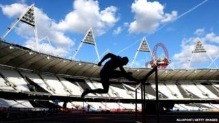 Athlete training in Olympic Stadium for the Anniversary Games