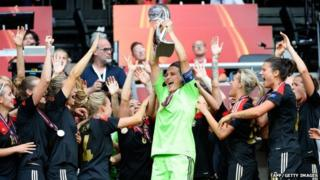 Germany celebrate with trophy