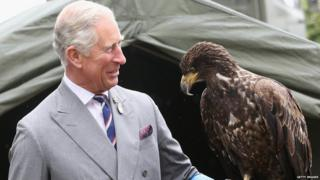 The Prince of Wales holds a bald eagle