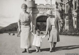 Previously unpublished family photograph issued by the Royal Collection of Queen Elizabeth II with Queen Mary and the Duchess of York at Balmoral in 1927.