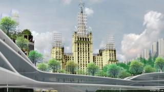A vision of Moscow in the future. A building is adorned with many wind turbines.