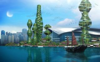 A rendering of a future city by architect Vincent Callebaut
