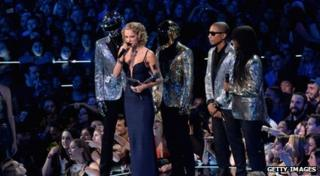 Taylor Swift with Daft Punk, Pharrell Williams and Nile Rodgers