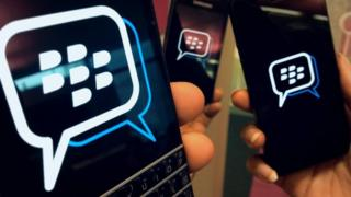Smartphones showing the BBM logo