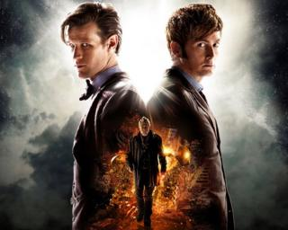 Matt Smith and David Tennant in a Doctor Who promotional image