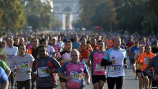 Participants compete in the 35th edition of the 20 kilometres of Paris