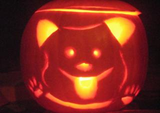 Hacker carved pumpkin