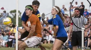 Teens playing Quidditch