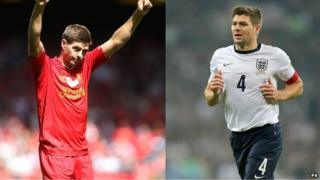 Steven Gerrard playing for Liverpool and England