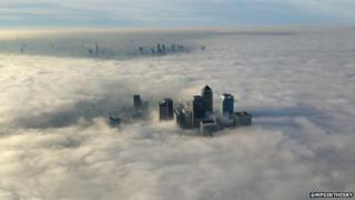 Aerial view of foggy London