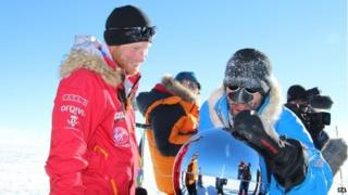 Prince Harry touches the South Pole