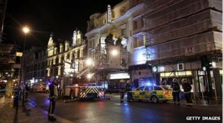 Emergency crews outside the Apollo theatre