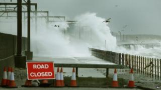 Waves hit shore in Scotland