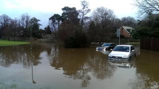 Flooded area in East Sussex