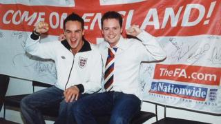 Ant & Dec with England flag in 2002