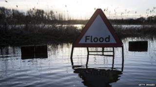 flood sign in water