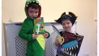 Hugo is Teggs from Astrosaurs and his little brother Myles is dressed up from Captain Flynn and the Pirate Dinosaurs.