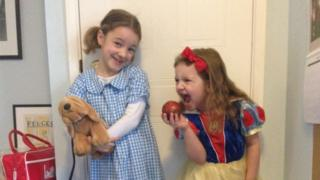 Eve is 7 and she's dressed up as Dorothy from The Wizard of Oz, while Elena, who's 5 dressed up as Snow White.