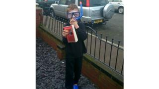 Luke who is 8 dressed up as Ben from David Walliam's Gangsta Granny.