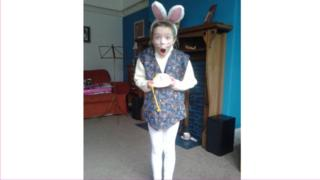 Theresa dressed as the white rabbit