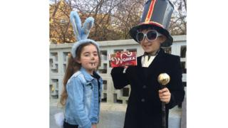 Amber and Oscar, who are from Folkestone are dressed up as a rabbit and Willy Wonka from Charlie and The Chocolate Factory.