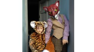 Inigo and Morph dressed as the tiger from Tiger Who Came To Tea and Fantastic Mr Fox.