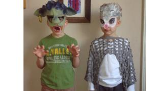 Natas is dressed up as the scary troll from Three Billy Goats Gruff and Joris is hedgehog from Forest Stories.